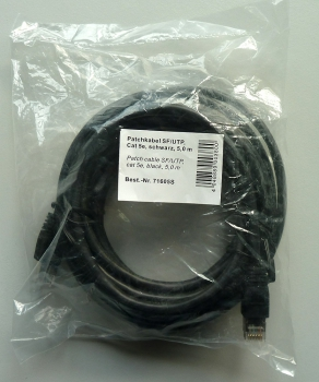CAT5e LAN-Kabel 5m Patchkabel SF/UTP schwarz, 5 meter
