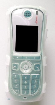 Silicone bag for DECT phone Ascom d62 & i62 / Unify WL3 / Avaya 3725 transparent with clip 7504