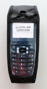 Alcatel 400 DECT phone case Leather case with rotating clip opening at the bottom NEW