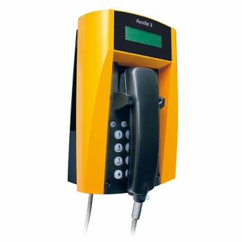 FHF Weatherproof Telephone FernTel 3 black/yellow with display with armoured cord 11233021