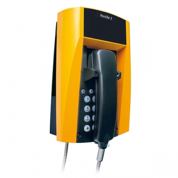 FHF Weatherproof Telephone FernTel 3 black/yellow without display with spiral cord 11230021