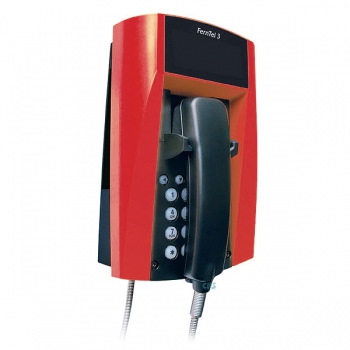 FHF Weatherproof Telephone FernTel 3 black/red without display with armoured cord 11232022