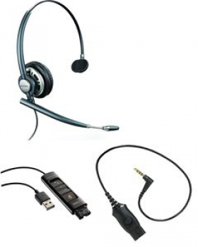 Plantronics EncorePro UC Bundle HW710 + DA80 + MO300 for IPhone 203822-01 NEW