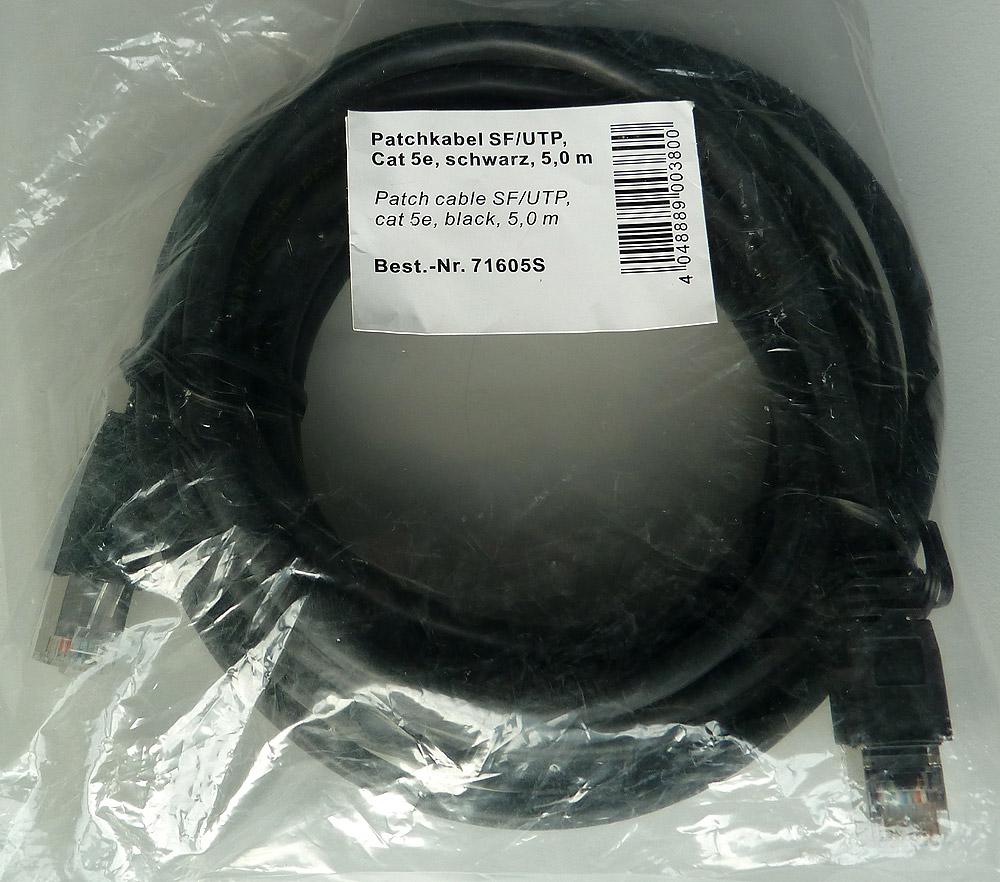 CAT5e LAN-Kabel 5m Patchkabel SF/UTP schwarz, 5 meter