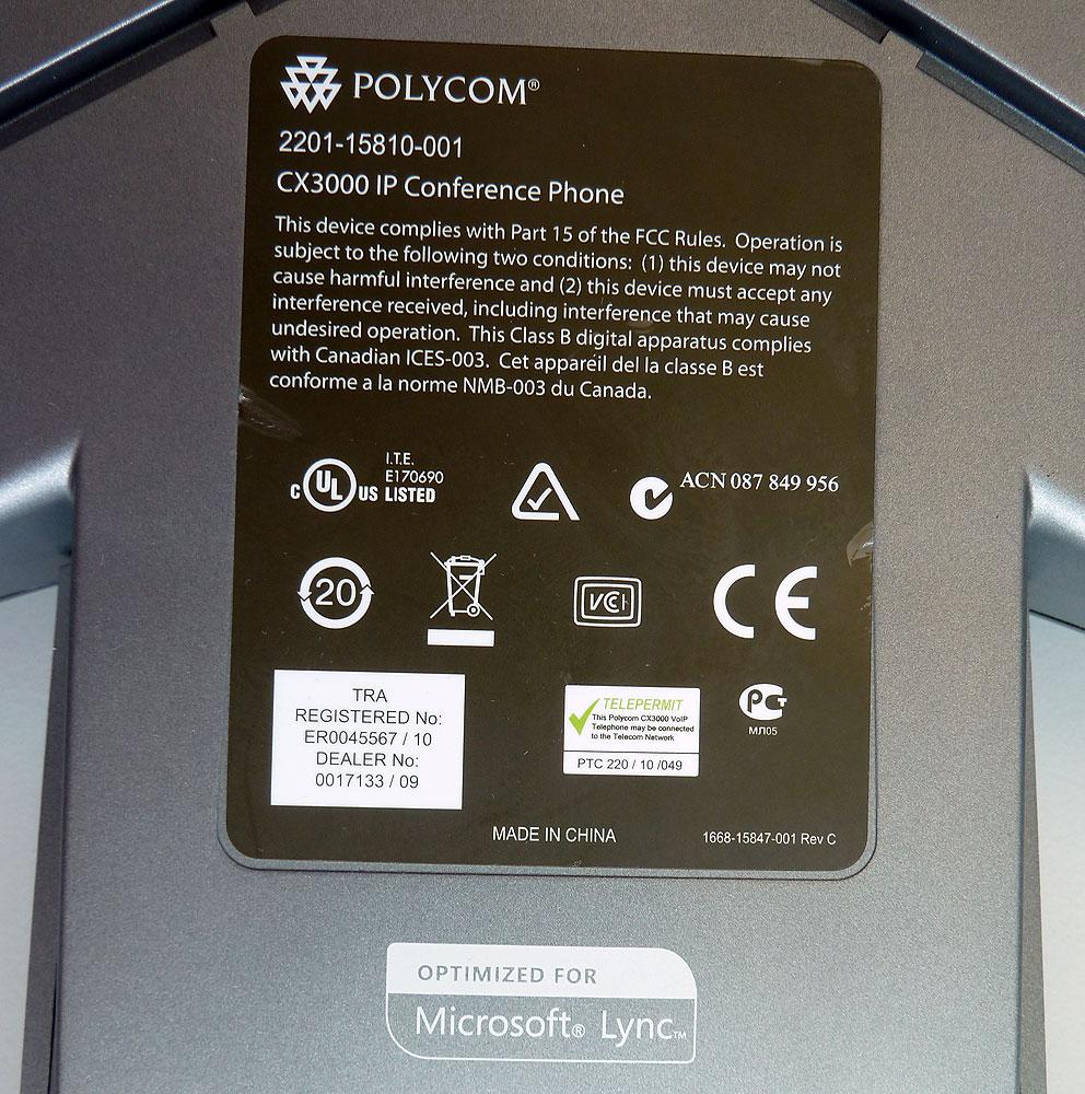 Polycom SoundStation CX3000 Microsoft Lync IP Conference